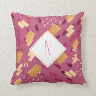 Scorpio Zodiac Abstract Monogram Maroon Pillow