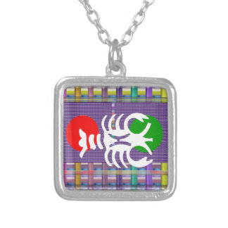 SCORPIO Zodiac Astrology Jyotish Symbols Square Pendant Necklace