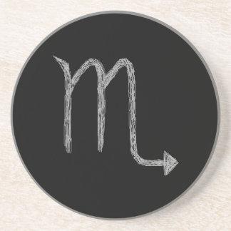 Scorpio. Zodiac Astrology Sign. Black. Coasters