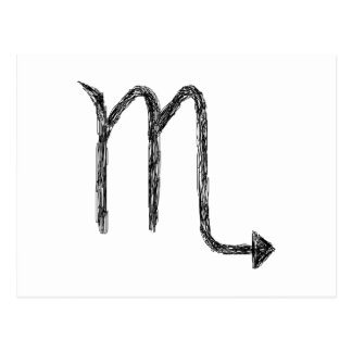 Scorpio. Zodiac Astrology Sign. Black. Postcard