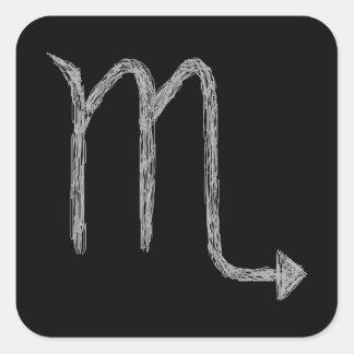 Scorpio. Zodiac Astrology Sign. Black. Square Sticker
