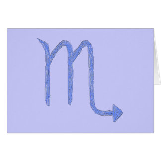Scorpio. Zodiac Astrology Sign. Blue. Card