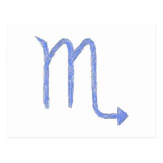 Scorpio. Zodiac Astrology Sign. Blue. Postcard