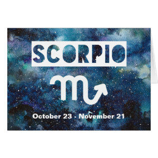 Scorpio Zodiac Blue Watercolor Galaxy Birthday Card