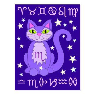 Scorpio Zodiac Cat Midnight Blue Postcards