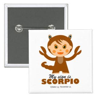 Scorpio Zodiac for Kids 15 Cm Square Badge
