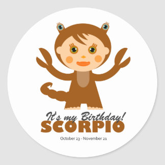 Scorpio Zodiac for Kids Round Sticker