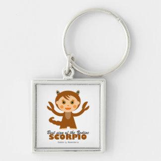 Scorpio Zodiac for Kids Silver-Colored Square Key Ring