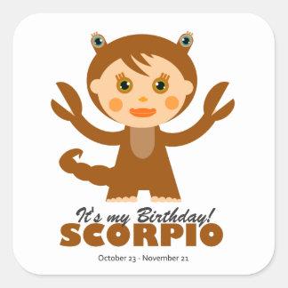 Scorpio Zodiac for Kids Square Sticker