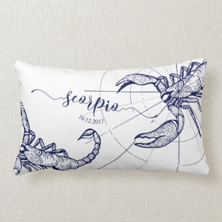 Scorpio Zodiac Navy & Gold Astrology Décor Pillow