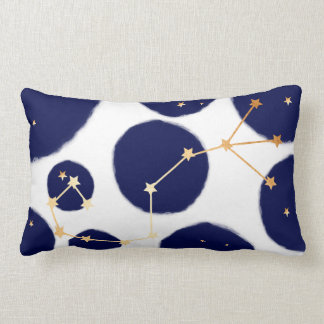 Scorpio Zodiac Navy Polka Dot & Gold Design Lumbar Cushion
