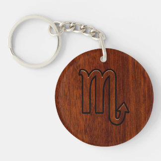 Scorpio Zodiac Sign in Mahogany Brown Style Key Ring