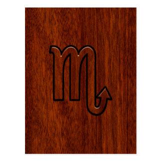 Scorpio Zodiac Sign in Mahogany Style Decor Postcard