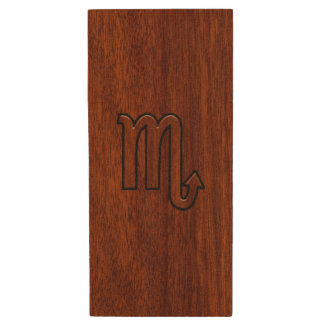 Scorpio Zodiac Sign in Rich Mahogany Style Wood USB 2.0 Flash Drive