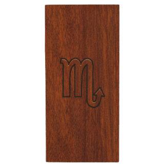 Scorpio Zodiac Sign in Rich Mahogany Style Wood USB Flash Drive