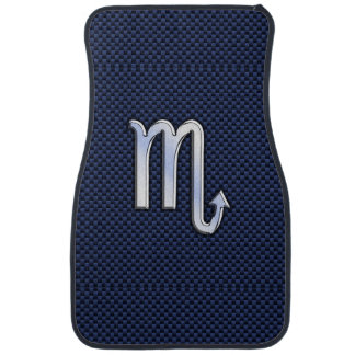 Scorpio Zodiac Sign navy blue carbon fiber decor Car Mat