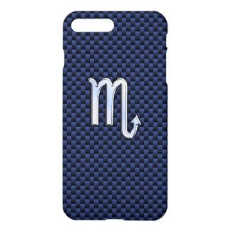 Scorpio Zodiac Sign navy blue carbon fiber iPhone 7 Plus Case