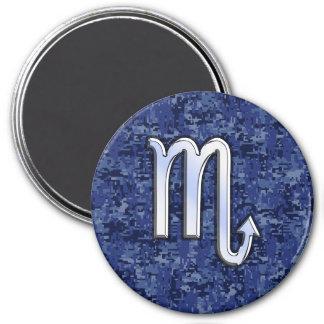 Scorpio Zodiac Sign on Navy Blue Camo 7.5 Cm Round Magnet