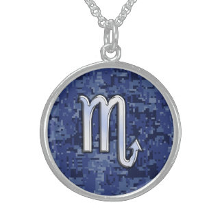 Scorpio Zodiac Sign on Navy Blue Camouflage Decor Sterling Silver Necklace