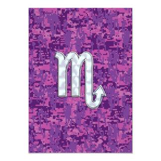 Scorpio Zodiac Sign on Pink Digital Camo 13 Cm X 18 Cm Invitation Card