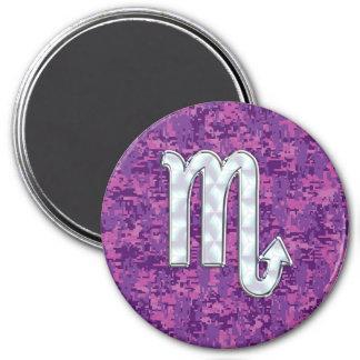 Scorpio Zodiac Sign on Pink Digital Camo 7.5 Cm Round Magnet