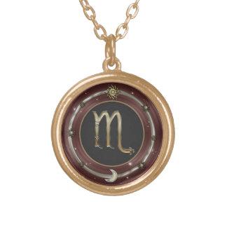 Scorpio Zodiac Sign Round Pendant Necklace