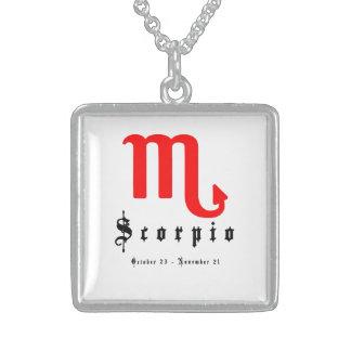Scorpio zodiac sign sterling silver necklace