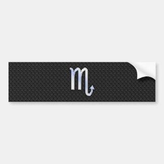 Scorpio Zodiac Silver Sign black snake skin Bumper Sticker