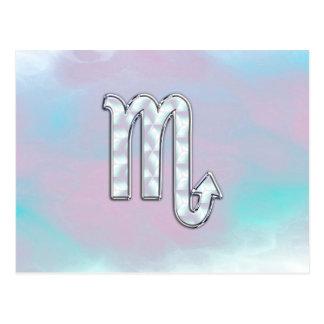 Scorpio Zodiac Symbol in Mother of Pearl Decor Postcard
