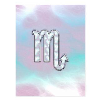Scorpio Zodiac Symbol in Mother of Pearl Style Postcard