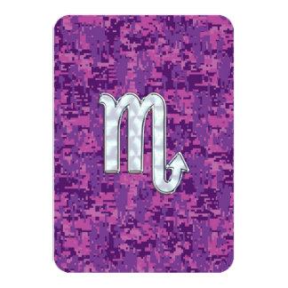 Scorpio Zodiac Symbol on Pink Digital Camo 9 Cm X 13 Cm Invitation Card