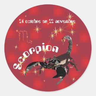 Scorpion 24 octobre outer 22 novembre Autocollant Round Sticker