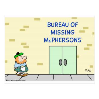 "Scot sees ""Bureau of Missing McPhersons."" Postcard"