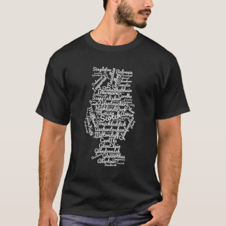 Scotch word cloud - white on black T-Shirt