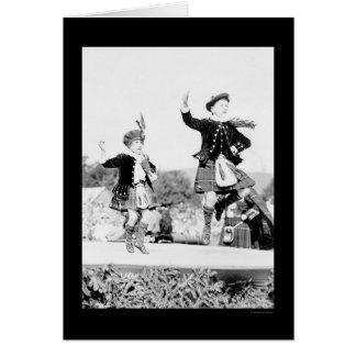 Scotish Kids Dancing in Kilts 1912 Greeting Card