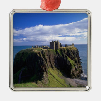 Scotland, Aberdeen. Dunnotar Castle. Silver-Colored Square Decoration