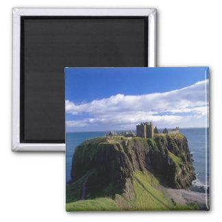 Scotland, Aberdeen. Dunnotar Castle. Square Magnet