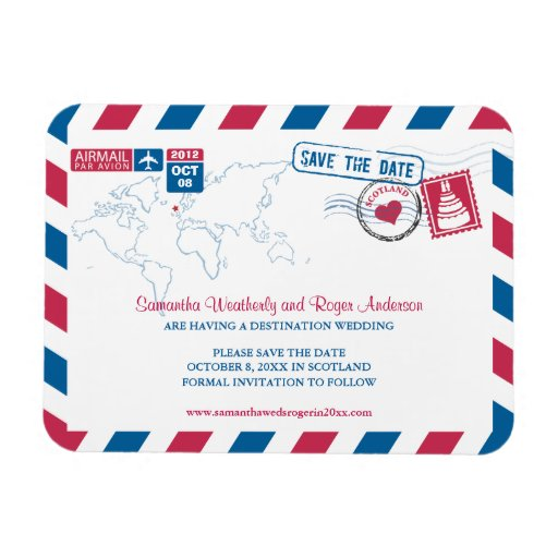 SCOTLAND Air Mail Wedding Save the Date 3x4 Rectangular Magnets