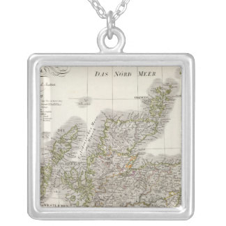 Scotland Atlas Map Silver Plated Necklace