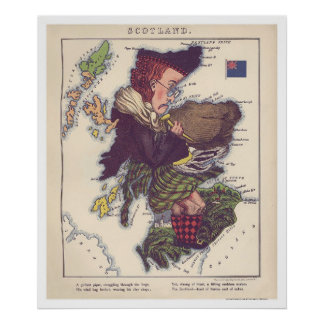 Scotland Caricature Map 1868 Poster