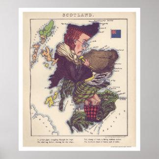 Scotland Caricature Map 1868 Poster