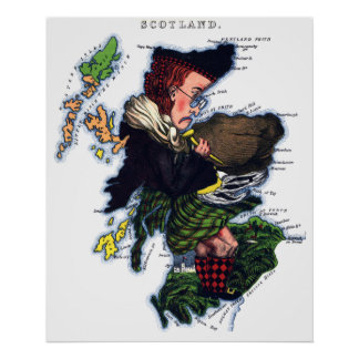 Scotland Caricature Map Poster