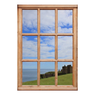 Scotland Castle, Sky and Ocean View from a Window Poster