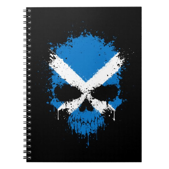 Scotland Dripping Splatter Skull Notebooks