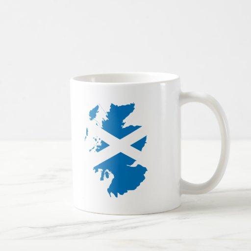 Scotland flag map coffee mugs