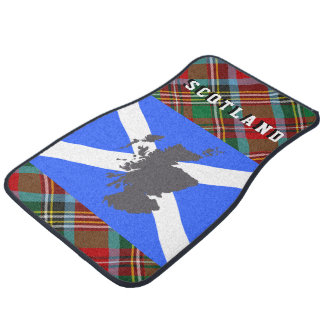 Scotland Flag Map Tartan Pattern Car Set Car Mat