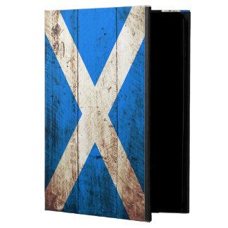 Scotland Flag on Old Wood Grain