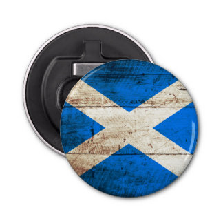 Scotland Flag on Old Wood Grain Bottle Opener
