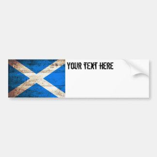 Scotland Flag on Old Wood Grain Bumper Sticker