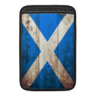 Scotland Flag on Old Wood Grain MacBook Sleeve